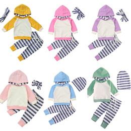 Fatos de treino do bebé cute on-line-Infante bonito do bebé da menina Roupa Define com capuz manga comprida Tops + Stripe Pants 3pcs Primavera Outono Outfit Treino Set