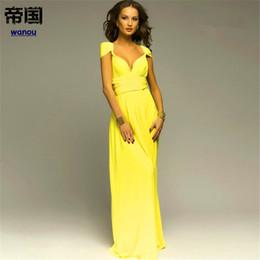 9747a5a96 Verano NUEVA Moda Maxi Vestido Mujer Dama Elegancia Amarilla Cuello En V  Profundo Sin Mangas Arco Nudo Fiesta Boda Noche Vestido Largo rebajas  vestidos ...
