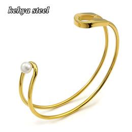 elegante armbandmanschette Rabatt Stulpearmband für Frauen Bar Gold / Silber Farbe Pulseira Feminina Eleganter Edelstahl Breites Wickelarmband Schmuck
