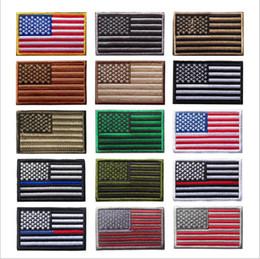 bandiere americane Sconti Bandiera degli Stati Uniti Tattico Militare Patch Bordo Oro Bandiera Americana Ferro sulle Patch Applique Jeans Tessuto Patch Adesivo Per Cappello Borse Distintivi B5297