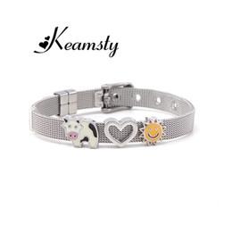 braccialetti d'argento su ordinazione Sconti Keamsty Piglet Cow, Unicorn Custom 8mm DIY Charms Slide Bracciale Keeper Bracciale Keeper Bracciale in argento personalizzato