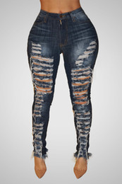 Big Hole Ripped Jeans Donna Pantaloni Harem Pantaloni larghi alla caviglia Denim Boyfriends per donna Pantaloni Beggar esagerati LadiesS914