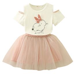 Deutschland Osterhasen Set Baby Mädchen Cartoon Kaninchen Floral Kurzarm Top + Pearl Tutu Kleid Kinder Kleidung Anzug supplier kids tops bunnies Versorgung