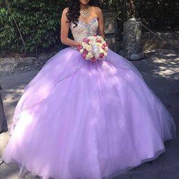 Elegant Lavender Quinceanera Dresses Sweetheart Beaded Zipper Sequins Floor Length Tulle 2019 Cheap Prom Gowns Vestidos De Debutante 15 Anos