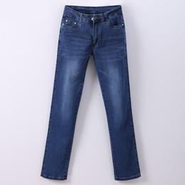 Talla 46 ropa online-Mujeres Jean Mujer Delgada Pantalona Primavera Recta Pantalones Vaqueros de Cintura Alta para Mujer Talla Extra Pantalones de Algodón Pantalones Vaqueros 907