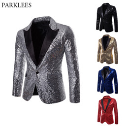 mens shiny suits jackets Promo Codes - Shiny Sliver Sequin Glitter Suit Jacket Men Nightclub Party Prom Mens Sequin Jacket Costume Homme DJ Stage Clothers for Singers
