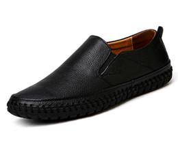 Büyük Boy Erkekler Hakiki Deri Siyah Ayakkabı Üzerinde Kayma Gerçek Deri Loafer'lar Erkek Moccasins Ayakkabı İtalyan Tasarımcı Ayakkabı nereden erkek deri için moccasins ayakkabı tedarikçiler