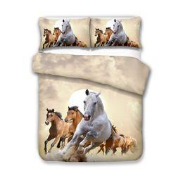 3d duvets pferde königin größe Rabatt Schöne 3D-Mode Pferdebettwäsche Set Twin Voll Königin König 4 Größe Bettbezug Kissenbezug Set Bettwäsche Bettwäsche-Sets