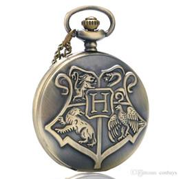 taschenuhr film Rabatt Fantasie Coole Kinder Bronze Hogwarts Theme Fob Quarz Taschenuhr Volle Hunter Ziffern Anhänger Uhr Beste Geschenk für Filmfans mit Kette
