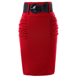 Женская красная юбка-карандаш онлайн-Юбки-карандаш женские сплошной черный серый красный синий с поясом узкая высокая талия Saia Bodycon повседневная работа в офисе Ol Midi юбка Faldas Y19072001