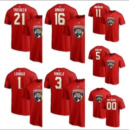 2019 camisas de marcas de nombre Camiseta de los Florida Panthers Aleksander Barkov Fanatics para hombre Auténtico rojo Logo Número Nombre Camiseta camisas de marcas de nombre baratos