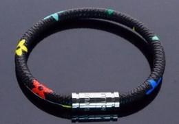 Deutschland Neue mode leder mont armband männer schnalle charme armbänder für herren schwarz mit titanium stahl liebhaber seil armreif männlichen schmuck Versorgung