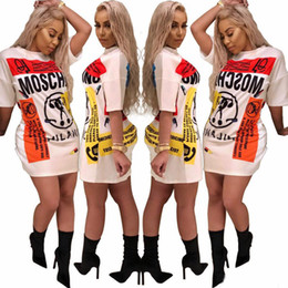 robe de femme courte d'or Promotion Mode T-shirt robe Femme Chemise à manches courtes Mini robes Brochage Casual Vêtements longues T-shirts d'été Robe blanche Femmes Robes