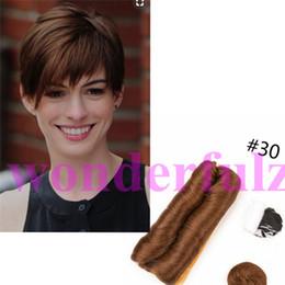 Könige 3-5 Inches Short Femi Weave Echthaarverlängerungen 28 Stück geschichtet braune # 27 Haare glatt schwarz menschliches Haar weben von Fabrikanten