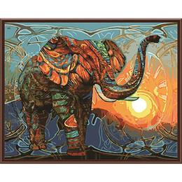 Lacknummern kits online-DIY Ölgemälde Durch Zahlen Elefant 50 * 40 CM / 20 * 16 Zoll Auf Leinwand Für Hauptdekoration Kits [Ungerahmt]