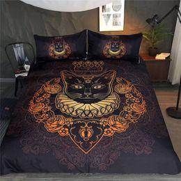 ensembles de literie royal Promotion Cat Queen Bedding Set Royal Queen Cat Cartoon lit Ensemble pour adultes Enfants Pet Imprimer Housse de couette Floral Textile