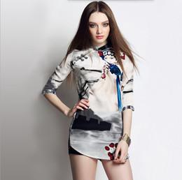 abiti americani cinesi Sconti 2019 primavera e l'estate delle nuove donne europee e americane retrò cinese vento inchiostro stampa vestito cheongsam seta di seta di gelso