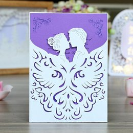 free engagement invitation cards Promo Codes - High grade wedding invitation card with envelope laser cut hollow out party invites for engagement hot free shiping