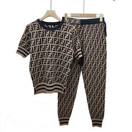 Maglioni di lino online-Spot vero e proprio colpo sezione esplosione qualità di seta lino lettera maniche corte maglione dragonne + lettera i pantaloni del 19