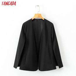 cappelli di moda corea Sconti Tangada korea fashion 2019 blazer donna mantello nuovo arrivo blazer nero abito cap casual OL cappotti outwear femminile 1D112