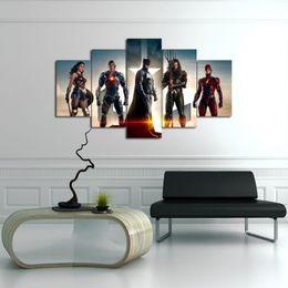 Deutschland DC Superhelden Film Justice League 5 Panel HD Leinwand Poster Druckt Wandkunst Malerei Bilder Für Wohnzimmer Moderne Dekoration supplier justice league painting Versorgung