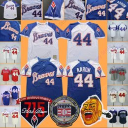 2019 Atlanta Hank Aaron Jersey Braves 715 patch HR Hall Of Fame 1974 1973 Crema Bianco Blu Pullover Red Mesh Uomo Donna Gioventù A Buon Mercato cheap cheap jersey patches da patch di jersey a buon mercato fornitori