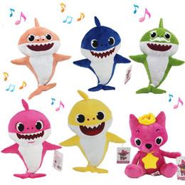 2019 conigli giganti 3 colori 30 centimetri 11,8 pollici Baby Shark giocattoli peluche con musica cantare la canzone inglese Cartoon farcito Lovely Animal Soft bambole giocattolo musicale