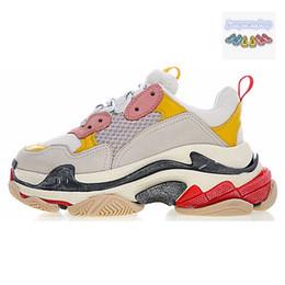 buy online 98dac f12c5 Scarpe firmate Triple S di lusso per gli uomini anziani s tre in uno nero  bianco rosso signore marca trainning scarpe causali taglia 36-45