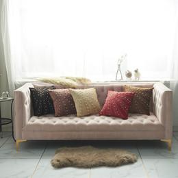 cuscini divano nero rosso Sconti Copertura dell'ammortizzatore del cuscino di lusso Copertura Velvet Bling casa del diamante decorativo Per la casa Divano Rosso Nero 45x45cm