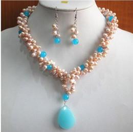 Жемчужное ожерелье набор синий онлайн-Jewelryr Pearl Набор Мода Shell Pearl / Blue Jade Ожерелье Серьги Кулон Комплект Ювелирных Изделий Бесплатная Доставка