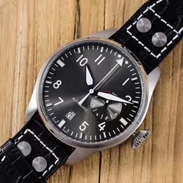 2019 reloj de piloto negro para hombre 2019 Reloj de pulsera de lujo de alta calidad Big Pilot Midnight Blue / Black Dial Automatic 46MM Hombres Reloj para hombre Relojes rebajas reloj de piloto negro para hombre