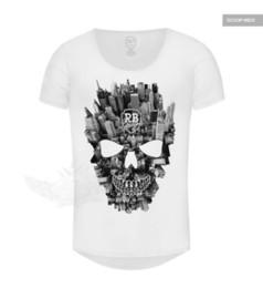 Collo di profondità della maglietta degli uomini online-T-shirt per uomo Slim Cool Luxury Skull T-shirt per uomo Slim Fit Crew Scoop Deep T-shirt Tee 710 discout hot new tshirt