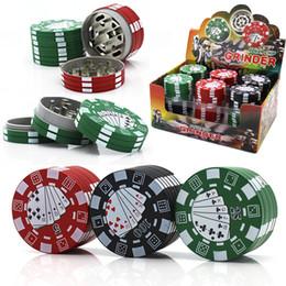 fichas de póker de metal Rebajas Poker Chip Herb Grinder 3 Capas Herbal Tobacco Grinders Pipa para fumar Accesorios Material de acrílico y metal 40 * 26 mm Máquina de cigarrillos Herramienta