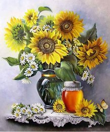 "sunflower diamond Promo Codes - Full Square Round Drill 5D DIY Diamond Painting ""sunflower"" Embroidery Cross Stitch Mosaic Home Decor Art Experience toys Gift A0698"