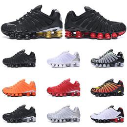 zapatillas de correr para hombre shox Rebajas Nike Shox TL hombres zapatos TL Triple Negro blanco Pure Platinum arcilla naranja Rojo amanecer velocidad deporte entrenadores tamaño de la zapatilla de deporte 40-46 ejecutan