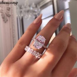 Pedras oval on-line-Vecalon Promise Anel set Oval corte 5A Zircon Pedra 925 Sterling Silver Engagement Wedding Band Anéis para mulheres Dedo Jóias