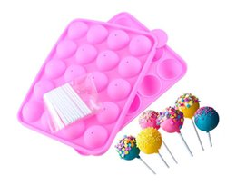 cake pops mould cupcake Promo Codes - Pink Silicone Tray Pop Cake Stick Pops Mould Cupcake Baking Mold Party Kitchen Tools 22.5*4*18cm SN3084