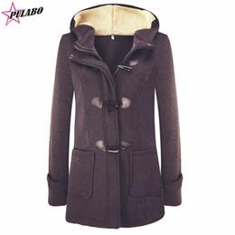 cappotto di pisello con cappuccio Sconti PULABO Moda invernale da donna in caldo misto lana misto classico Giacca da giacca da donna Bottone in corno con cerniera Vestiti con cappuccio
