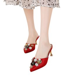 red flat shoelaces Coupons - Women's Fashion Pointed Toe Floral Outdoor Slippers High Heels Wedding Shoes Shoelace for Women High Heels Sandals Shoe#g4