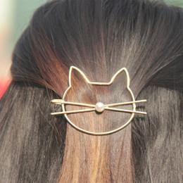 casacos florais para casamentos Desconto 1PC Moda oco Gato bonito Pin cabelo imitação de Pearl Hairpin grampo de cabelo lado Acessórios Barrette Presentes mulheres da menina