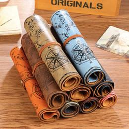кожаные сумки Скидка Винтаж пиратский рулон искусственная кожа пенал карта сокровищ ручка карандаш сумка творческий канцелярские офис школьные принадлежности