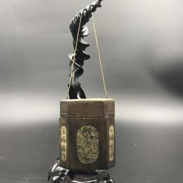 Boite de sculpture en bois chinoise en Ligne-Boîte à tabac en bois sculpté antique de Chine Modèle de beauté et de longévité. c497