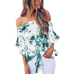 knot shoulder Coupons - Women One-necked Strapless Shoulder Blouse Floral Knot Tie Front Chiffon Shirt Five-Point Bell Sleeve Tops Leisure Beach Shirt *