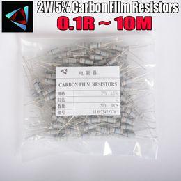 Carbonio resistente online-Resistori a pellicola al carbonio 200 pezzi 2 W 5% 0,1 ~ 10 M 1R 4,7 10 22R 33 R 47 R 1 K 4,7 K 10 K 100 K 0,22 0,33 10 M ohm Resistori a film di ossido di metallo