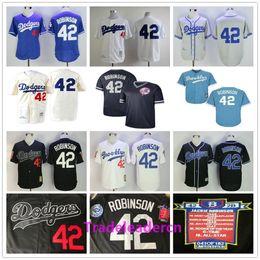 Baseballs vintage on-line-Jackie Robinson Day Jersey Los Angeles Brooklyn # 42 Dodgers Branco Preto Azul Creme Retro 1955 Camisas De Basebol Do Vintage Costurado