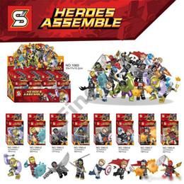 2019 caixa de brinquedos hulk blocos de construção blocos de Marvel Avengers Caixa de Cores Thanos Capitão Thor Hulk Homem de Ferro Homem-Aranha Figuras Brinquedos presente para crianças caixa de brinquedos hulk barato