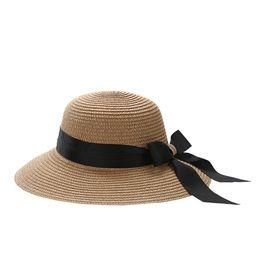 chapeau de paille noir réglable Promotion Été Femmes Pliable Large Large Bord Plage Soleil Chapeau Chapeau De Paille Cap Pour Dames Élégant Chapeaux Filles Vacances Voyage Chapeau