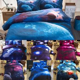 edredons de marfim Desconto 150 * 210 cm / 59 * 82.5 polegadas Conjuntos de Cama Universo Espaço Linho de Cama Temática 3D Galaxy Capa de Edredão Folha Plana 2 pcs / 3 pcs / 4 pcs Set