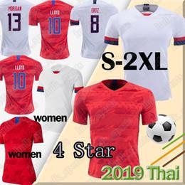 tailandia camiseta de los hombres Rebajas 4 Estrellas 2019 Copa Mundial de Fútbol Mujeres EE.UU. jerseys LLOYD MORGAN RAPINOE maillot de pie PULISIC DEMP Estados Unidos Hombres camiseta de Tailandia