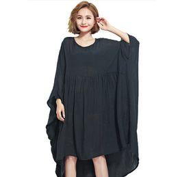 Vestito chiffon nero dalla tunica online-Abito oversize per le donne Camicie in chiffon Plus Size Abito estivo Femminile T-shirt grande Tunic Abiti camicia nera